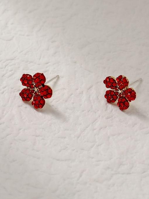 HYACINTH Brass Rhinestone Flower Minimalist Stud Trend Korean Fashion Earring 3