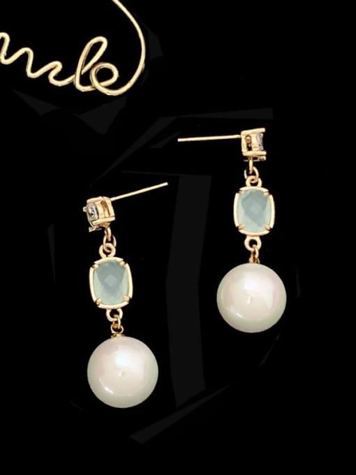 SUUTO Brass Imitation Pearl Geometric Trend Drop Earring 2