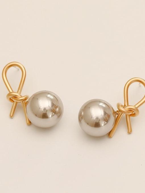 HYACINTH Brass Imitation Pearl knot Vintage Drop Earring 2