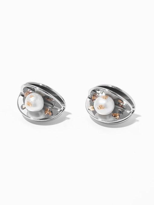 pearl earrings Brass Imitation Pearl Geometric Hip Hop Stud Earring