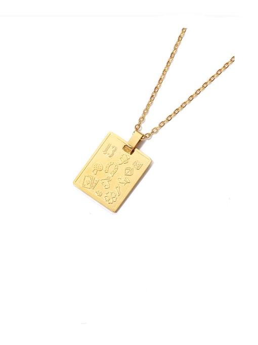 golden Titanium Steel Geometric Vintage Necklace