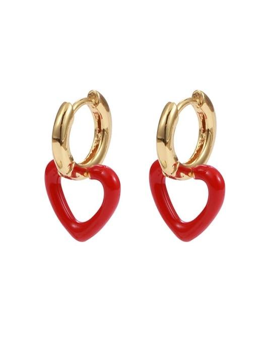 Five Color Brass Enamel Heart Minimalist Drop Earring