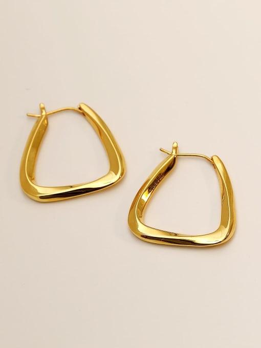 HYACINTH Brass Hollow Geometric Minimalist Stud Earring 0