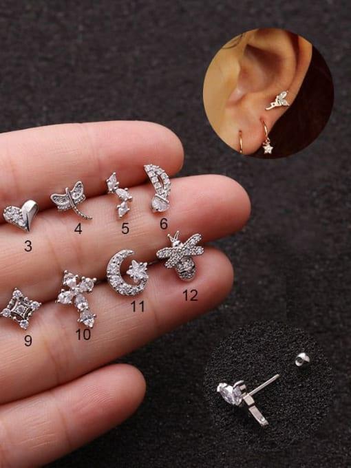 HISON Brass Cubic Zirconia Cross Cute Stud Earring 1