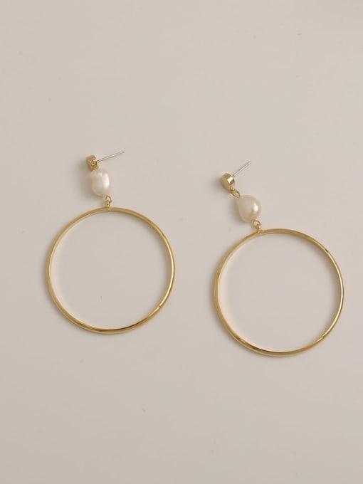 14K real gold Brass Imitation Pearl Geometric Minimalist Drop Earring