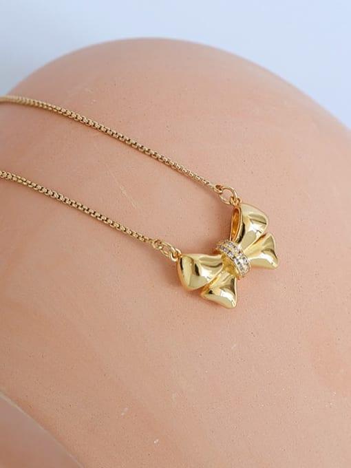 Five Color Brass Bowknot Minimalist  Pendant Necklace 0