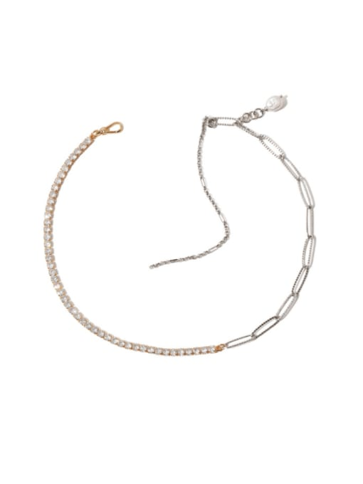 TINGS Brass Cubic Zirconia Geometric Hip Hop Necklace 0