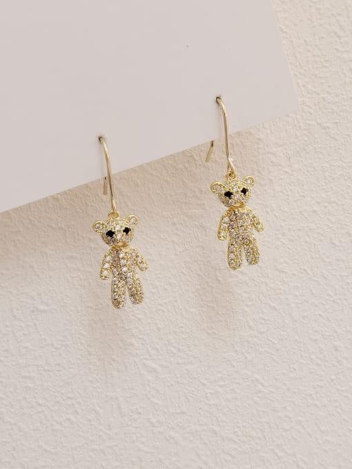 HYACINTH Brass Cubic Zirconia Bear Vintage Hook Earring 0
