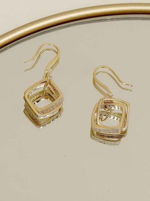 HYACINTH Copper Cubic Zirconia Geometric Minimalist Hook Earring 2