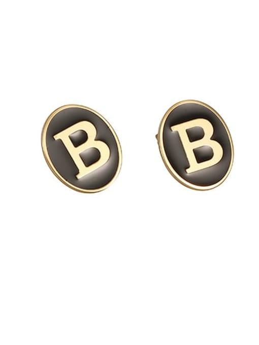 Black drip Brass Enamel Letter Cute Stud Earring