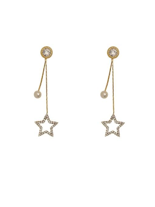 HYACINTH Brass Imitation Pearl Tassel Minimalist Drop Earring