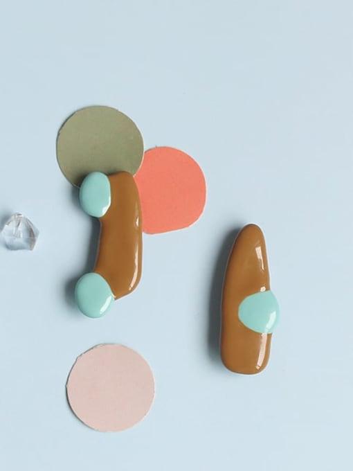 Five Color Alloy Enamel Geometric Minimalist Stud Earring 0