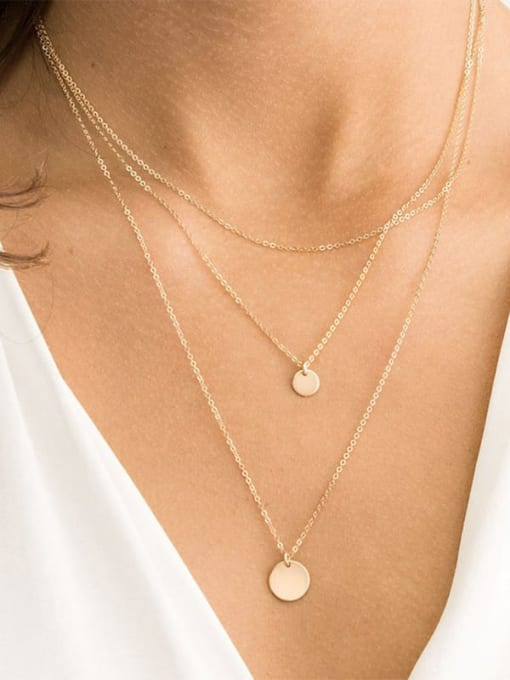 Desoto Stainless steel Geometric Minimalist Multi Strand Necklace 1