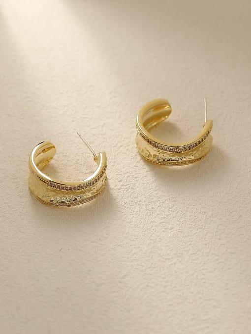HYACINTH Brass Geometric Vintage Stud Earring