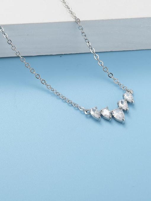Platinum White Brass Cubic Zirconia Heart Minimalist Necklace