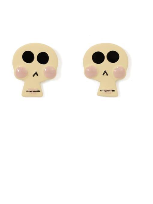 Rice white Alloy Enamel Skull Cute Stud Earring
