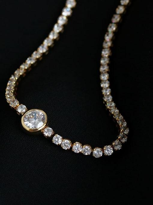 Five Color Brass Imitation Pearl Geometric Hip Hop Necklace 3