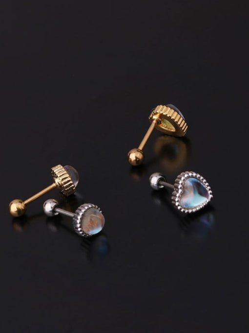 HISON Brass Opal Ball Hip Hop Stud Earring 2