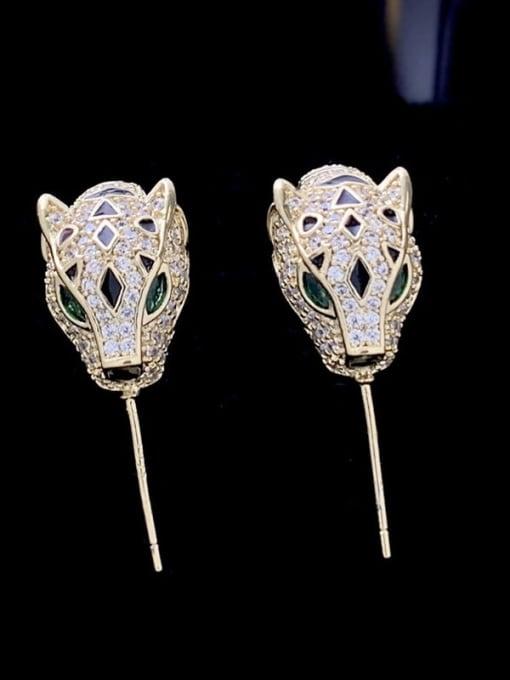 SUUTO Brass Cubic Zirconia Leopard Cute Stud Earring 1