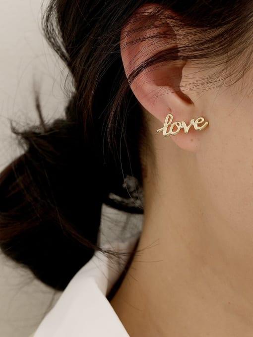 HYACINTH Brass Enamel Cute Asymmetrical star letters  Stud Earring 1