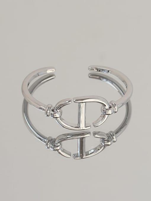 ACCA Brass Hollow Geometric Vintage Cuff Bangle 0