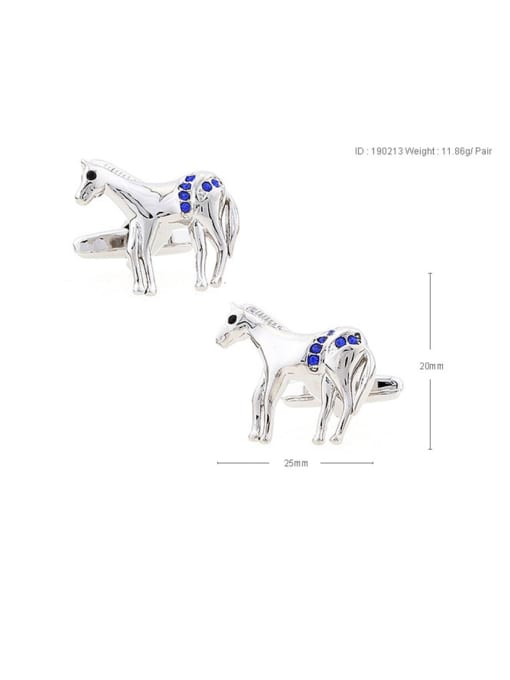 horse Brass Rhinestone Animal Vintage Cuff Link