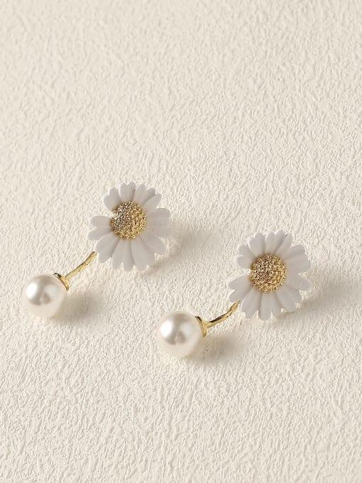 white Brass Imitation Pearl Enamel Flower Cute Drop Earring
