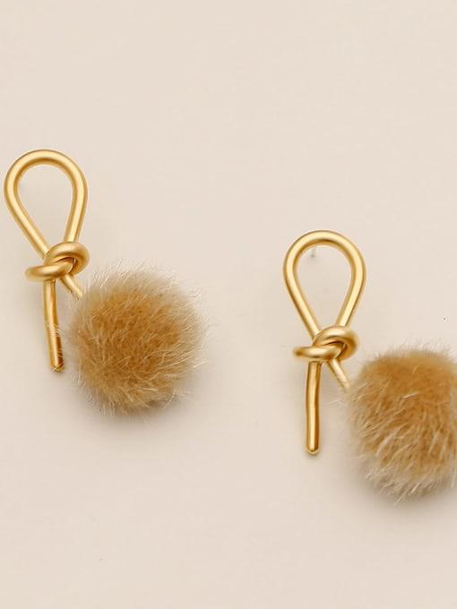 Dumb gold light coffee hair ball Brass Plush Ball Ethnic knot Drop Earring