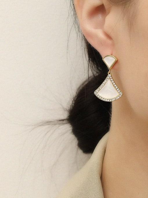 HYACINTH Brass Shell Geometric Vintage Drop Earring 1