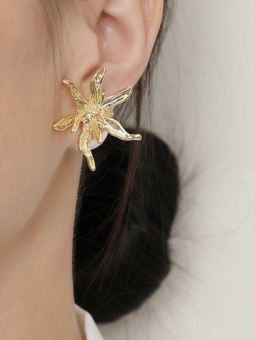 HYACINTH Brass Imitation Pearl Flower Vintage Stud Trend Korean Fashion Earring 1