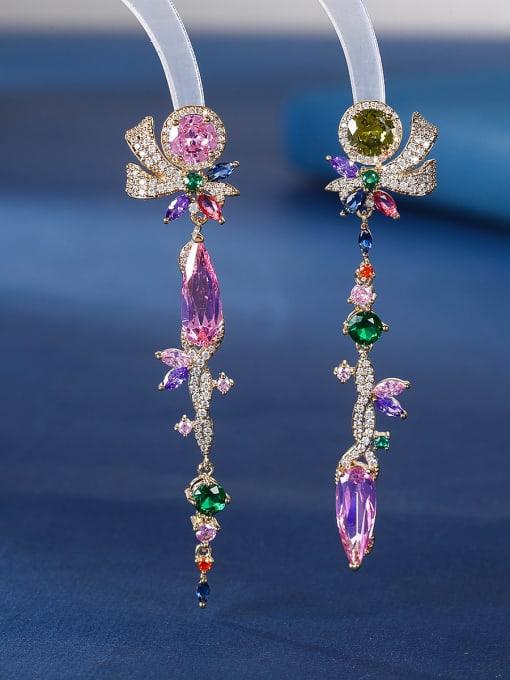 Pink Brass Cubic Zirconia Tassel Luxury Drop Earring