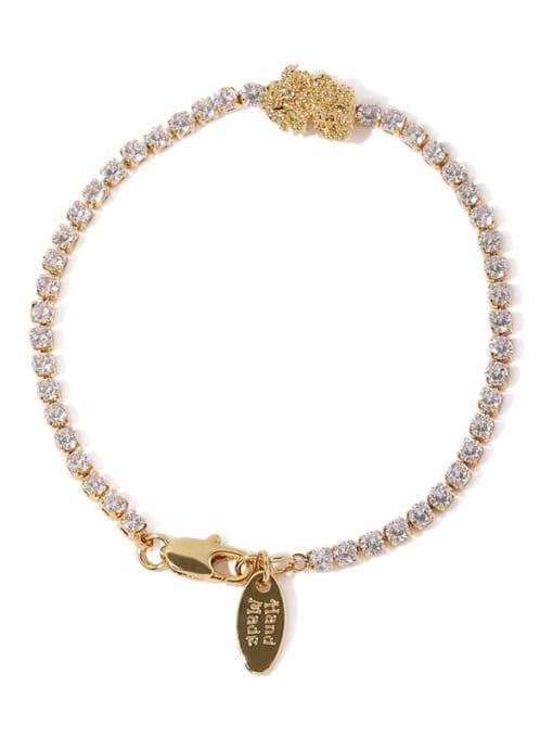 Five Color Brass Cubic Zirconia Geometric Hip Hop Bracelet 4