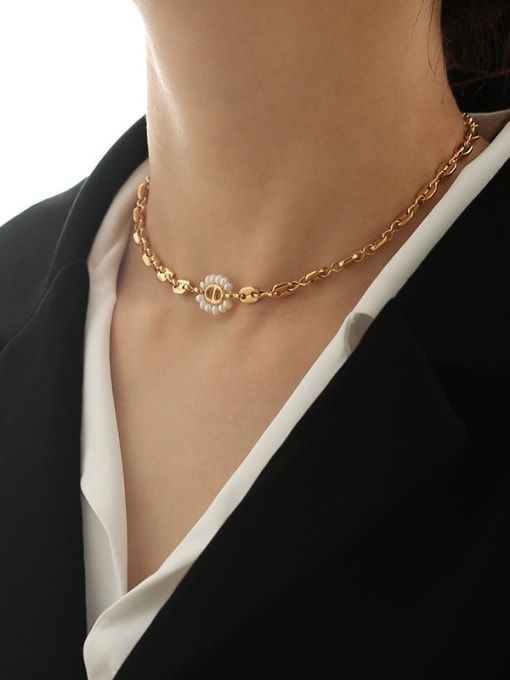 TINGS Brass Imitation Pearl Geometric Hip Hop Necklace 2