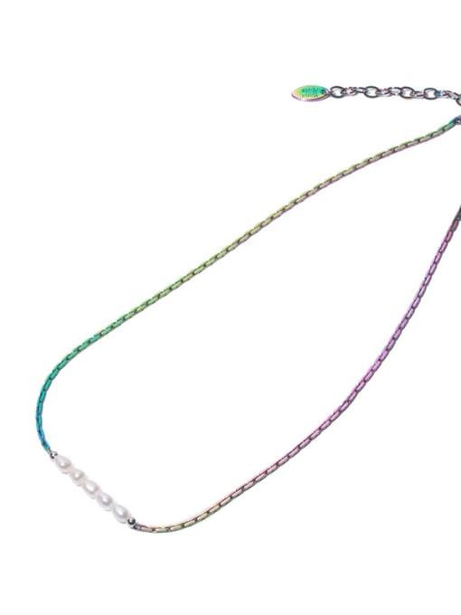 TINGS Brass Freshwater Pearl Geometric Minimalist Necklace