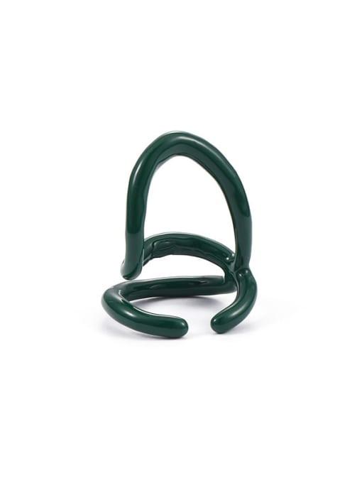 Green line Zinc Alloy Enamel Line Geometric Minimalist Stackable Ring