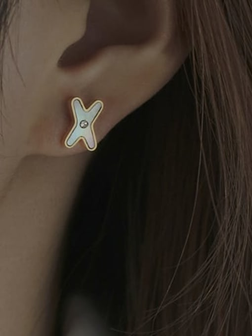 ACCA Brass Shell Letter Vintage Stud Earring 0