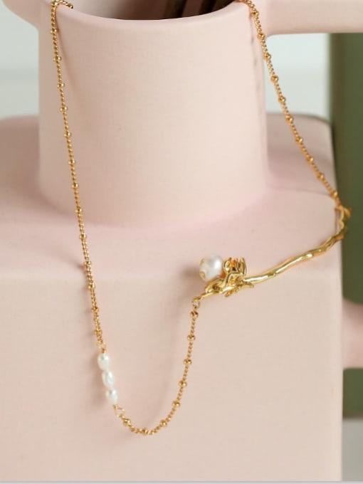 Five Color Brass Imitation Pearl Flower Hip Hop Necklace 2