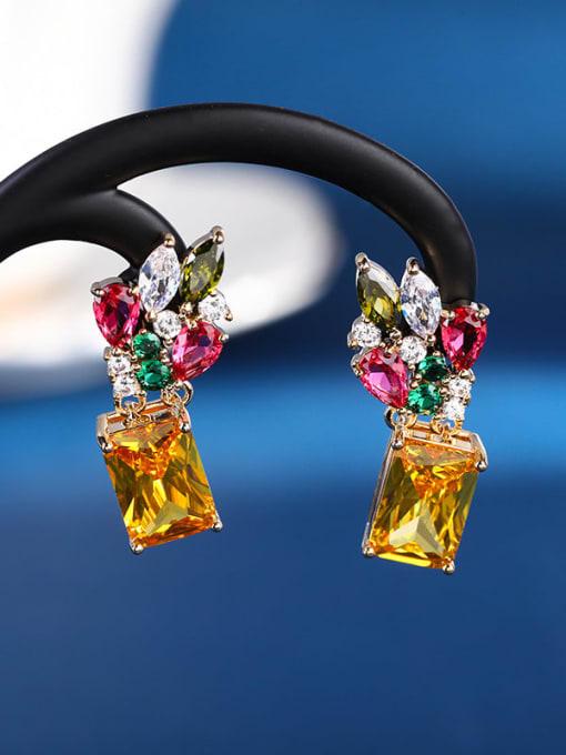 OUOU Brass Cubic Zirconia Flower Luxury Drop Earring 1