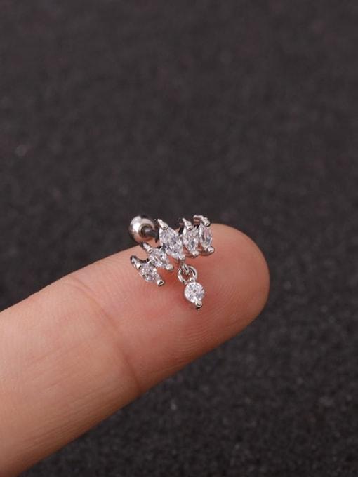 HISON Brass Cubic Zirconia Crown Cute Stud Earring 2
