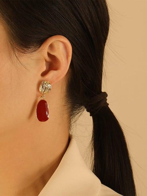 HYACINTH Brass Enamel Geometric Vintage Drop Earring 1