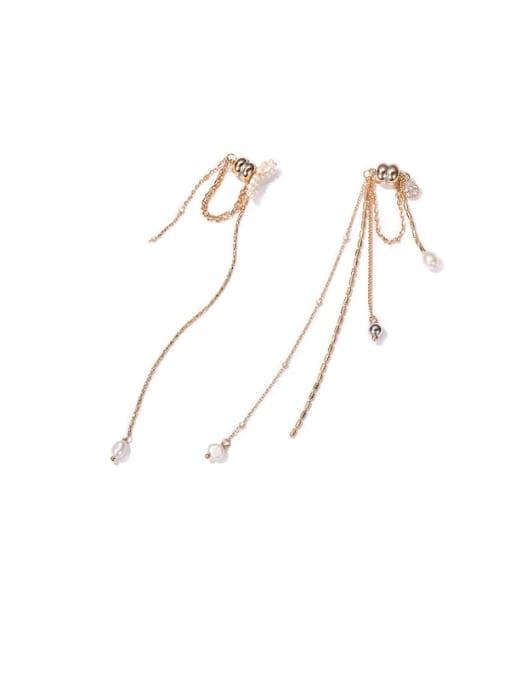 ACCA Brass Freshwater Pearl Tassel Minimalist Threader Earring(single) 0
