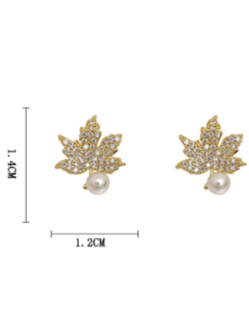 HYACINTH Brass Cubic Zirconia Leaf Minimalist Stud Earring 2