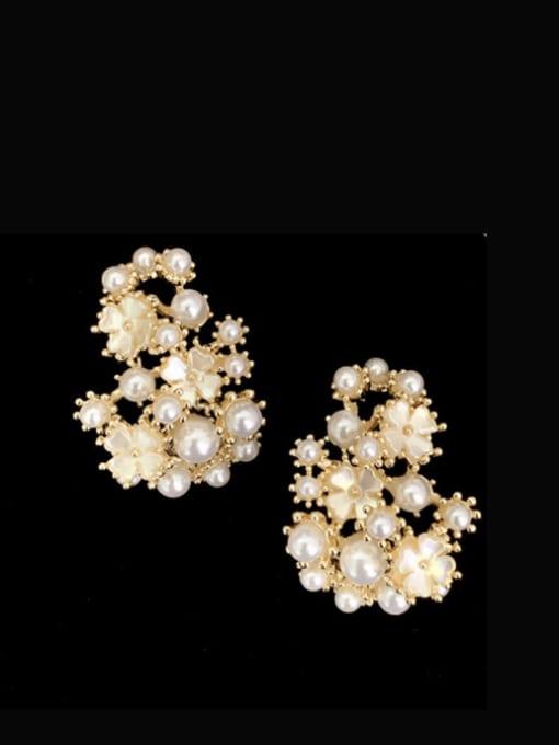 SUUTO Brass Imitation Pearl Flower Hip Hop Stud Earring 1
