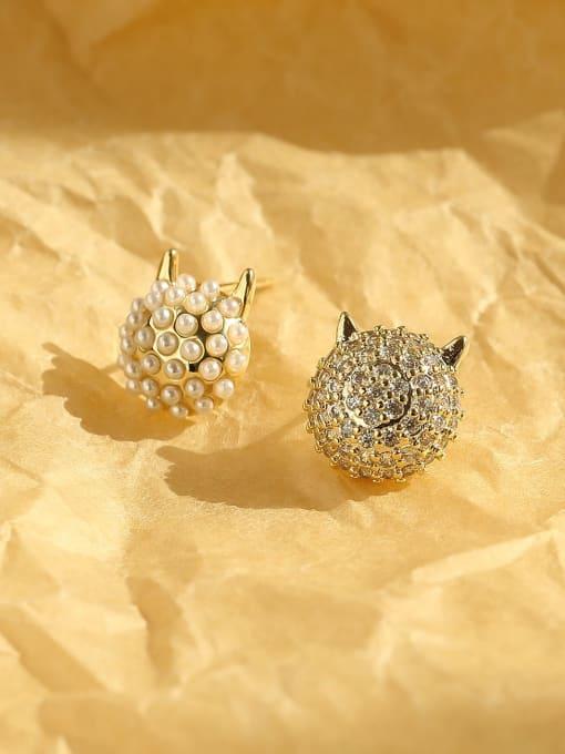 14k gold Brass Imitation Pearl Geometric Ethnic Stud Earring