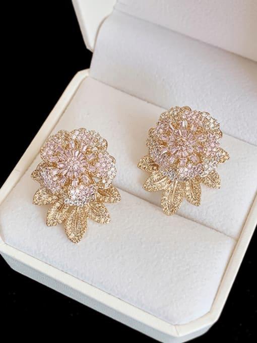 Golden pink Brass Cubic Zirconia Flower Hip Hop Stud Earring
