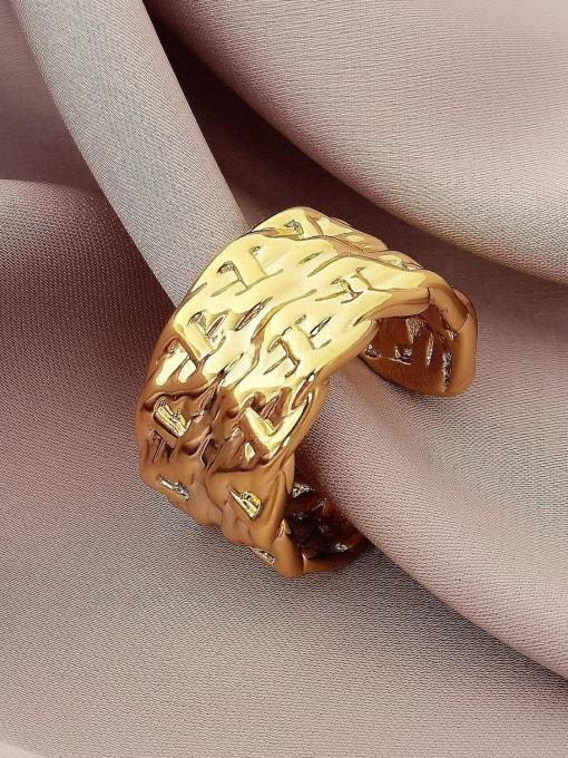 16k gold Brass Irregular Geometric Vintage Band Ring