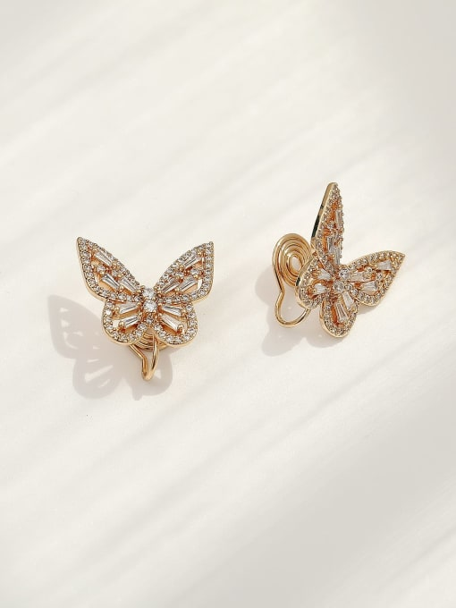Champagne gold Brass Cubic Zirconia Butterfly Vintage Clip Earring