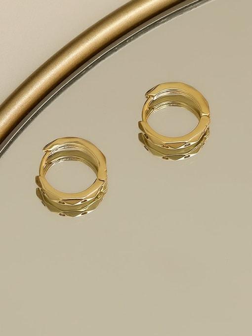 HYACINTH Copper Rhinestone Geometric Minimalist Huggie Earring 2