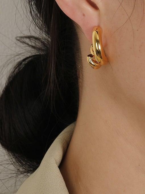 HYACINTH Brass Geometric Vintage Hoop Earring 1