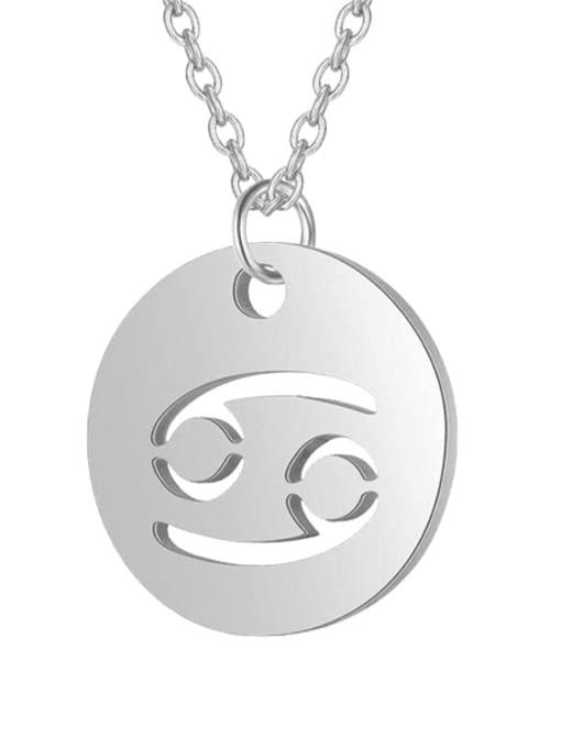 Cancer steel Titanium Steel Constellation Minimalist  Round Pendant Necklace